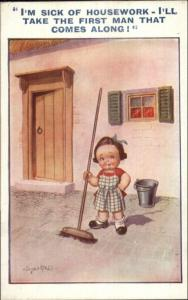 Little Girl Playing Grown-Up Sweeping w/ Broom SICK OF HOUSEWORK Postcard