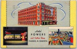 FARGO, North Dakota Postcard HOTEL POWERS & Coffee Shop / Linen / 1940 Cancel