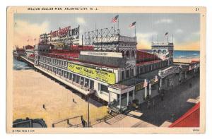 Million Dollar Pier Atlantic City NJ Amusements Vintage Tichnor Linen Postcard