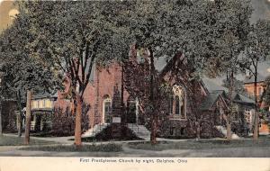 Ohio Postcard DELPHOS Allen Van Wert County 1912 FIRST PRESBYTERIAN CHURCH Night