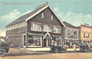Hyannis MA Megathlin's Drug Store Grocery Store Old Cars Postcard