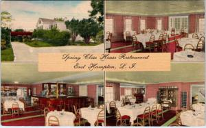 EAST HAMPTON, Long Island  NY   Roadside SPRING CLOSE HOUSE RESTAURANT  Postcard