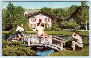 SUN VALLEY, ID Idaho  Summer Scene~BRIDGE, BIKE  c1940s  Blaine County Postcard