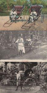 Tamil Lady In Rickshaw Jinricksha Boy Ceylon 3x Old Postcard s