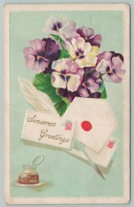 Flowers Greetings~White and Purple Pansies~Ink and Quill~c1910 Postcard