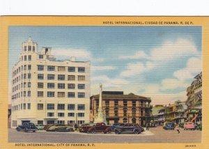 P1915 vintage postcard many old cars hotel international city of panama unused