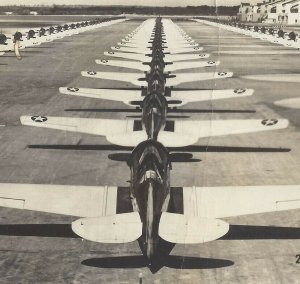 Postcard RPPC Real Photo Line Up of Planes on Ramp Posted 1943 Camp Forest TN