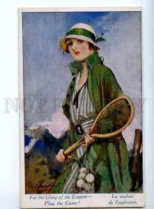 244434 FASHION Lady TENNIS by BARRIBAL Vintage ART NOUVEAU PC