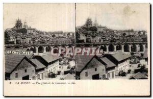 Stereoscopic Card - Switzerland - Vue Generale de Lausanne - Old Postcard