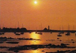 Dusk On The Bay With Minot's Light As A Distinctive Landmark Scituate Ma...