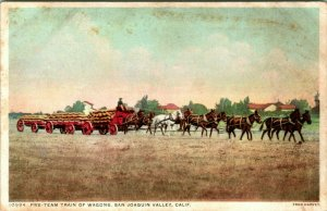 Vtg Postcard 1900s Five-Team Train of Wagons San Joaquin Valley CA Fred Harvey