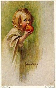 Der Sundenfall   Artist: L. Fahrenkrog    (Little girl biting into apple)