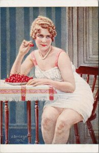 Pretty Woman Eating Cherries Risque J. Seeberger Signed Postcard F70
