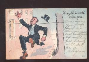 THOUGHT I WOULD WIRE YOU VINTAGE COMIC POSTCARD GLENSTED MISSOURI 1910