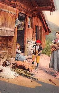 Switzerland Old Vintage Antique Post Card Children and Dog Unused