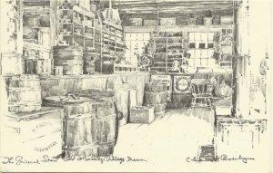 The General Store - Old Sturbridge Village MA Vintage Postcard Artist Signed Cha