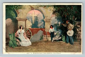 San Gabriel Mission Play Act 3, Senora's Lamentation Vintage California Postcard