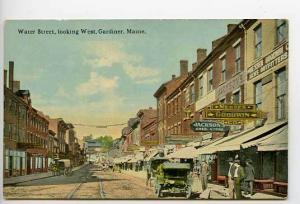 Gardiner ME Street View Store Fronts Postcard