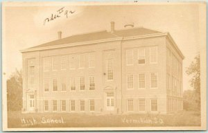 VERMILLION, South Dakota RPPC Real Photo Postcard HIGH SCHOOL Street View c1913
