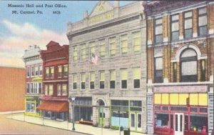 Mt Carmel PA -  Masonic Hall and Post Office, 1930/40s
