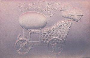 EASTER ; Chick & Giant egg on car cart , Embossed , 00-10s