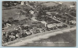 Postcard CT Westbrook Connecticut Aerial View of West Beach c1940s AG6