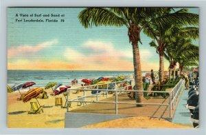 Fort Lauderdale FL-Florida, Surf,Sand,Ocean,Beach, Bathers,Linen c1950 Postcard