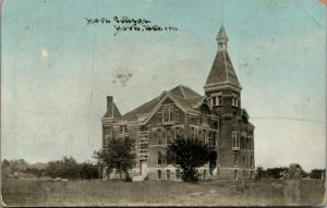 Lonely York College Nebraska~Tiny Top on Tall Tower of Old Main~1910 CU Williams