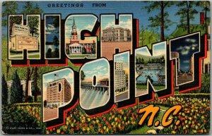 HIGH POINT N.C. North Carolina Large Letter Postcard Curteich Linen 1944 Cancel