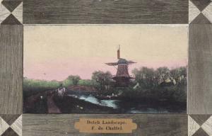 Windmill, Dutch Landscape, F. du Chattel, PU-1907