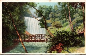 Minnesota Minneapolis Minnehaha Falls Showing Rustic Bridge Detroit Publishing