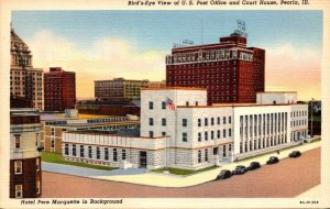 Illinois Peoria Birds Eye View Of Post Office and Court House Curteich