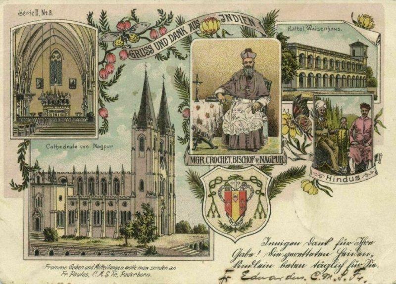 india, NAGPUR, Cathedral, Bishop Mgr. Crochet, Hindus (1902) Court Card