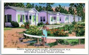 Jacksonville FL Postcard GREEN ACRES MOTOR COURT Cottages Rte 1 Roadside c1940s