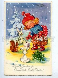 202800 GNOME Girl HARE SQUIRREL by STINA old Color postcard