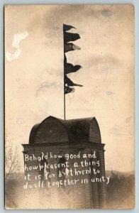 Hurrah Lenox IA! 5 Flags~Good & Pleasant Unity Monument*~Psalm 133:!~RPPC 1911