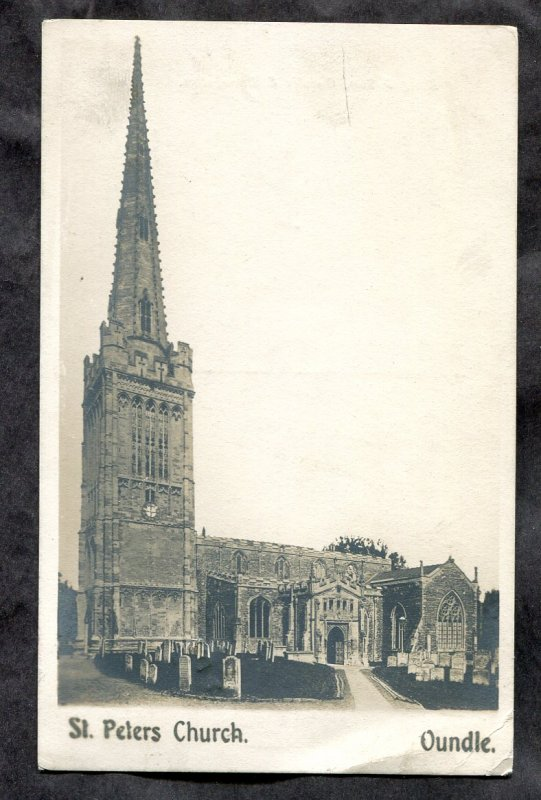 dc298 - OUNDLE England 1906 Church. Real Photo Postcard. Squared Circle