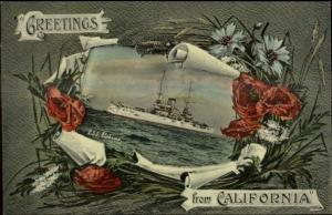 California Greeting Flowers Battleship Series c1910 Postcard USS ALABAMA
