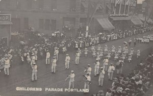 LPS83 Portland Oregon Rose Festival Children's Parade Band Postcard RPPC