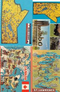Manitoba St Lawrence Seaway Canada Map 4x Postcard s