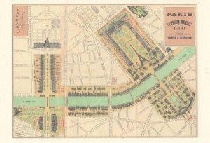 Paris L'Exposition Universelle French Map Postcard