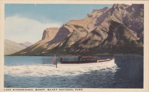 BANFF, Alberta, Canada, 1930-1940's; Lake Minnewankea, Banff National Park, Boat