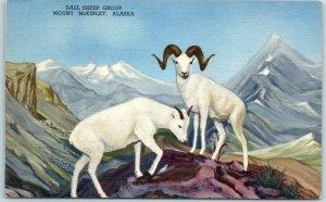 Hastings, Nebraska Postcard THE HOUSE OF YESTERDAY Dall Sheep Group Linen