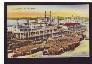 P1585 vintage unused postcard harbor ship loading cotton on the river