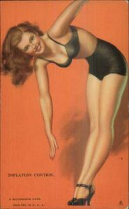 Sexy Pin-Up Woman - Vintage Mutoscope Card INFLATION CONTROL