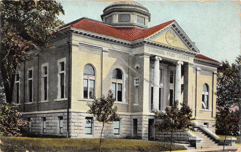 Alliance Ohio~Carnegie Free Library~Large Greek Style Columns~1908 Postcard