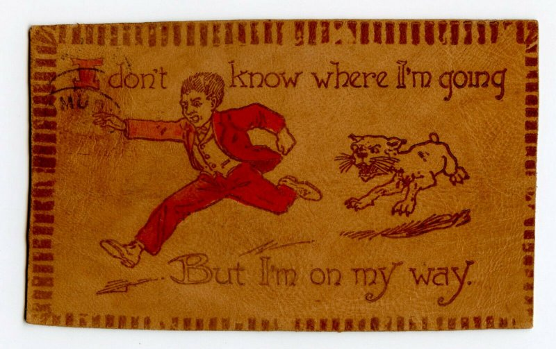 I Don't Know Where I'm Going Vintage Leather Postcard Standard View Card