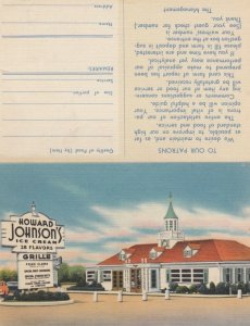 HOWARD JOHNSON'S Ice Cream & Grille, 1930-40s; Bifold with detachable survey