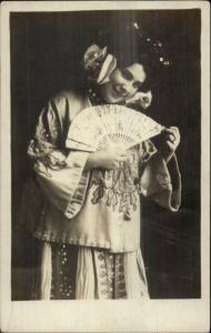 White Woman Geisha Costume Fan Kimono c1910 Real Photo Postcard