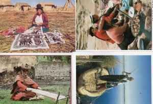 Peru Fisherman Straw Boat Rag Making Cookery Crafts 4x Peruvian Postcard s